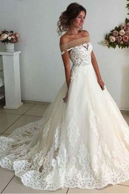 Sparkly A-line Lace Appliques Wedding Dresses | Off-the-shoulder Tulle Bridal Gowns_3