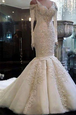 Charming Crystals Mermaid Wedding Dresses | Long Sleeves Appliques Bridal Gowns_2