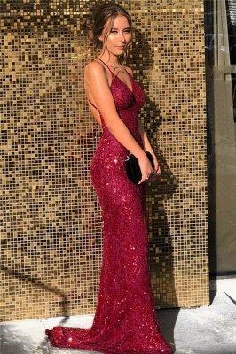 Sequined V-neck Spaghetti Straps Backless  Mermaid  Prom Dresses_1