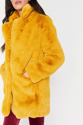 Yellow Stick Up Neckline Medium Long Fuzzy Coat_12