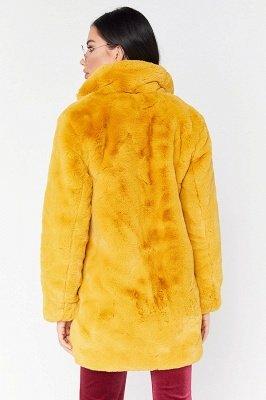 Yellow Stick Up Neckline Medium Long Fuzzy Coat_15