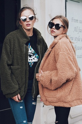 Oversize Fuzzy Jacket in Brown with Zipper_21