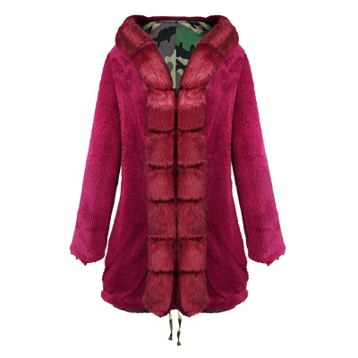 Camo Military Premium Fur Trim Parka Coat with Faux Fur Hood_34