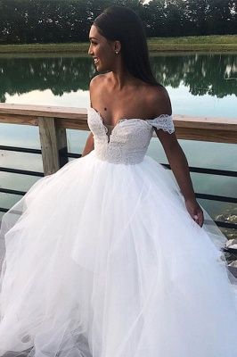 Charming Off the Shoulder A Line Wedding Dress | White Tulle Lace V Neck Bridal Gown