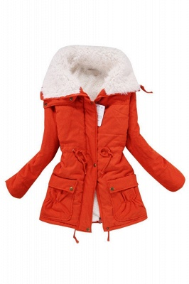 Women's Fashion Hunt Lamb Wool Collar Parka Coat_17