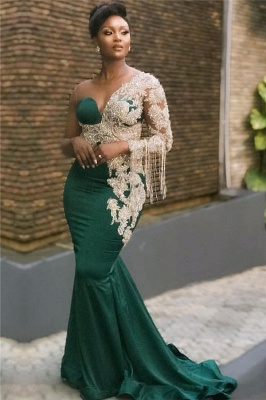 Dark Green Mermaid Appliques Prom Dresses | Glamorous Sweep Train One Shoulder Evening Dresses