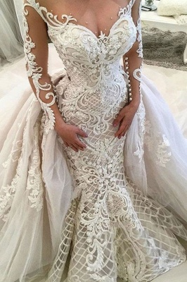 Glamorous Long Sleeves Mermaid Lace Overskirt Wedding Dresses_2