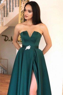 Alluring Strapless V-neck Belted Prom Dresses with A Leg Slit_2