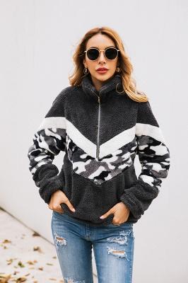 Womens Fuzzy  Halp Zip Fleece Winter Sherpa Sweaters Pullovers_4
