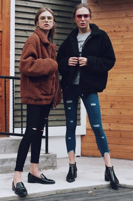 Oversize Fuzzy Jacket in Brown with Zipper_27