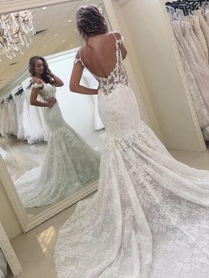 White Off-the-shoulder Mermaid Lace Modern Wedding Dress_3