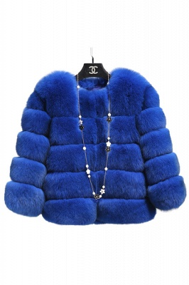 Tiered Fox Fur Coat with Full Fur Collar and Cuffs_33