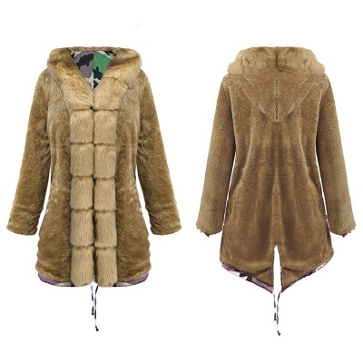 Camo Military Premium Fur Trim Parka Coat with Faux Fur Hood_12