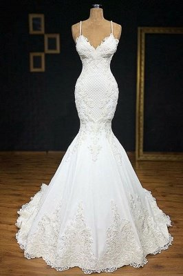 Elegant Spaghetti-Straps Applique Mermaid Wedding Dress_1
