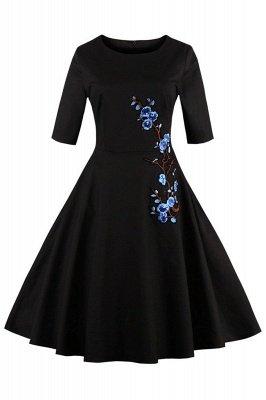 Vintage 1/2 Sleeve Wintersweet Embroidery Black Swing Dress_2