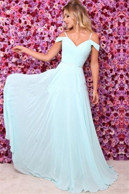 A-line Off the Shoulder Chiffon Prom Dresses | Simple Blue Evening Dresses