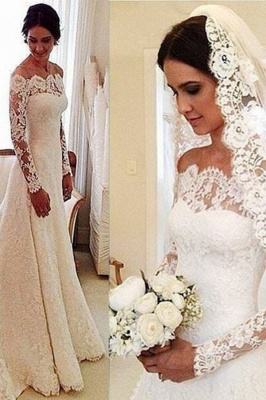 Lace Off-the-Shoulder Long Sleeves Glamorous A-line Wedding Dresses_3