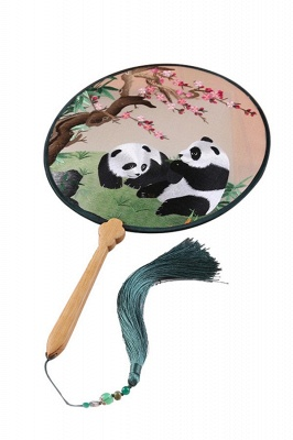 Classic Double-Sided Hand-Embroidered Chinese Palace Fan With Hand Tassels_1
