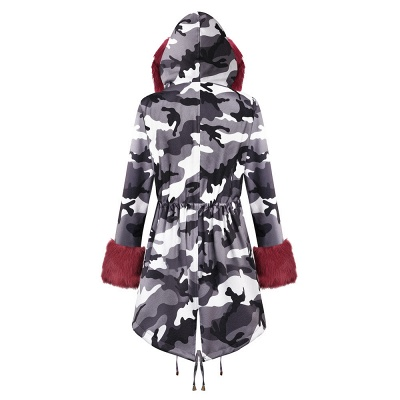 Camo Military Fur Lined Parka Coat with Faux Fur Hood_31