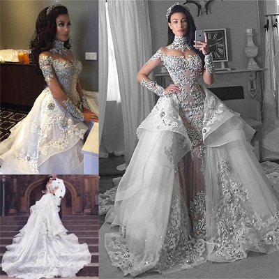Tulle High-Neck Appliques Detachable-Train Long Sleeves Glamorous Wedding Dresses_5