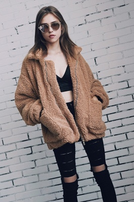 Oversize Fuzzy Jacket in Brown with Zipper_22
