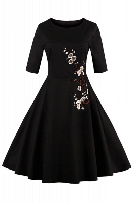 Vintage 1/2 Sleeve Wintersweet Embroidery Black Swing Dress_1