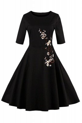 Vintage 1/2 Sleeve Wintersweet Embroidery Black Swing Dress