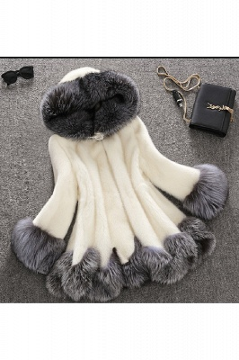 Women's Fashion Hooded White Fox Fur Coat_4