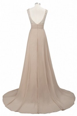 Cheap Grape A-line Sleeveless Sweep Train Prom Dress_9
