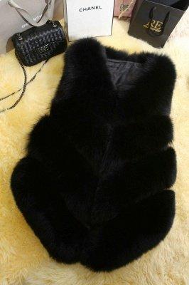 Grey Collarless Layered Fox Fur Gilet_4