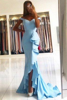 Off the Shoulder Sweetheart Ruffle Mermaid Prom Dresses_2