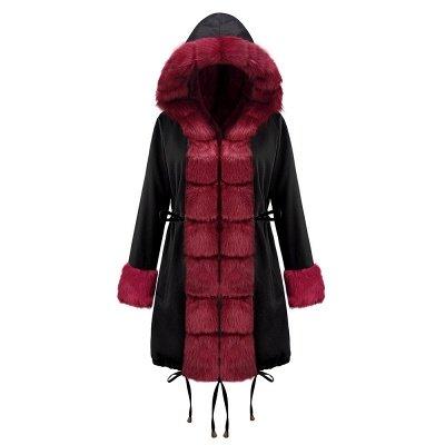 Premium Fur Trimmed Parka Coat with Faux Fur Hood_14