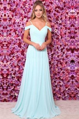A-line Off the Shoulder Chiffon Prom Dresses | Simple Blue Evening Dresses_2