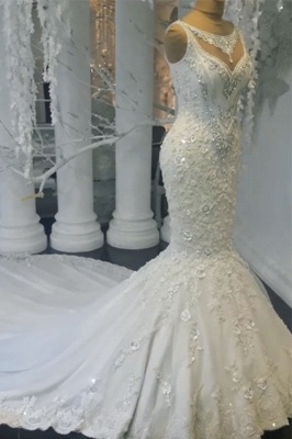 Charming Mermaid Sleeveless Wedding Dresses | Floral Crystals Appliques Bridal Gowns_2