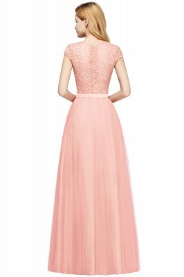 Cheap A-line Jewel Tulle Lace Bridesmaid Dress in Stock_14