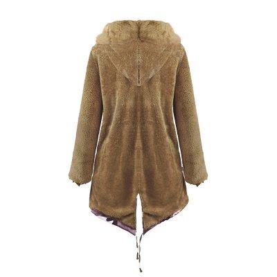 Camo Military Premium Fur Trim Parka Coat with Faux Fur Hood_39