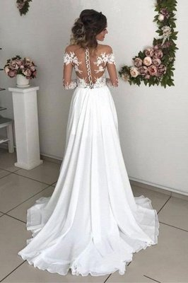 Exquisite A-Line Chiffon Lace See Through Neck Long Sleeves Wedding Dresses_3