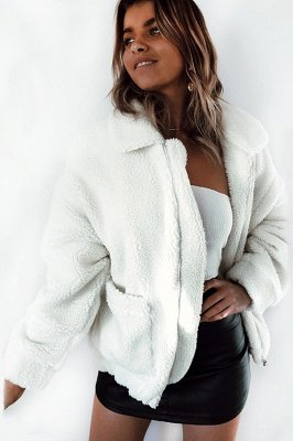 Oversize Fuzzy Jacket in Brown with Zipper_13