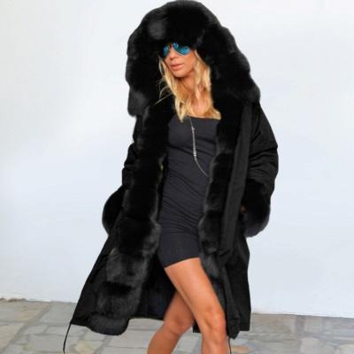 Premium Fur Trimmed Parka Coat with Faux Fur Hood_3