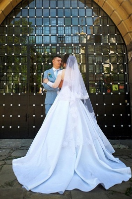 Chic Tulle Jewel Long-Sleeves Applqiues Wedding Dress with Pockets_2