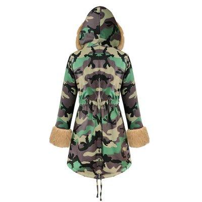 Camo Military Premium Fur Trim Parka Coat with Faux Fur Hood_35