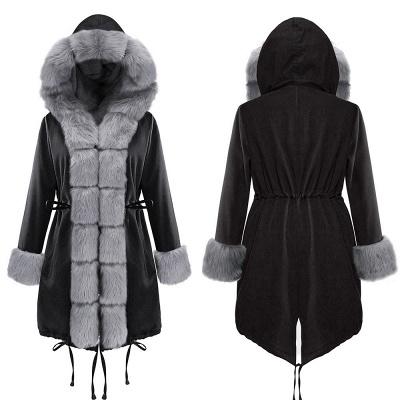Premium Fur Trimmed Parka Coat with Faux Fur Hood_12