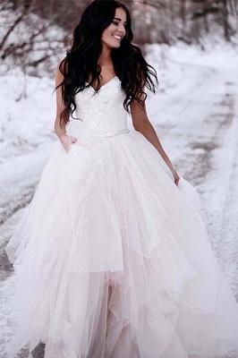 Glamorous Ruched Floor-Length Tulle Sleeveless V-neck Wedding Dresses_2