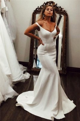 Off-the-shoulder Mermaid Wedding Dresses | Elegant Satin Bridal Gowns