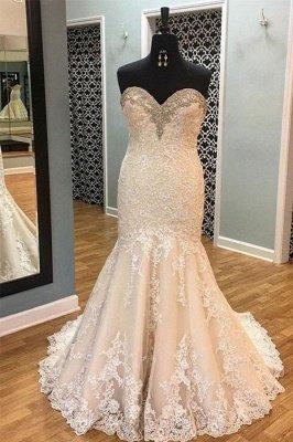 Sleek Court Train Sleeveless Applique Sweetheart Tulle Sexy Mermaid Wedding Dresses_2