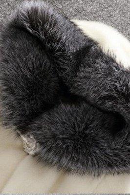 Women's Fashion Hooded White Fox Fur Coat_10