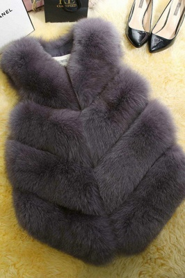 Grey Collarless Layered Fox Fur Gilet_5