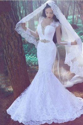 White Sexy Mermaid Wedding Dresses  | Tulle Lace Appliques Bridal Gowns_3
