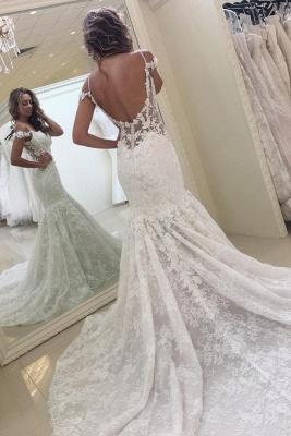 White Off-the-shoulder Mermaid Lace Modern Wedding Dress_2