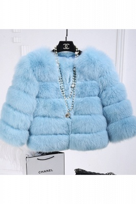 Tiered Fox Fur Coat with Full Fur Collar and Cuffs_44